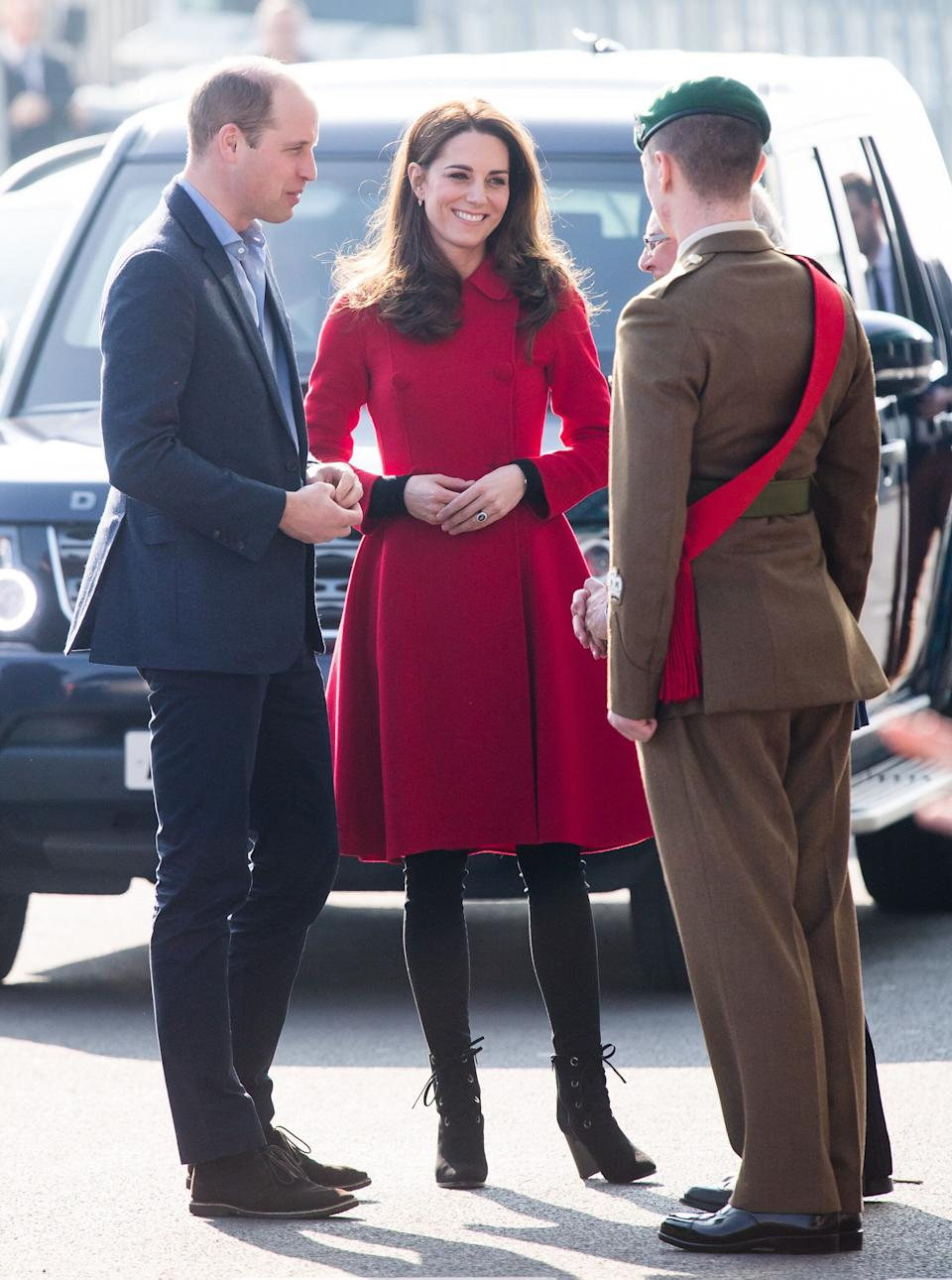 Kate and William, Duke of Cambridge, visit during their visit to the National Stadium on Feb. 27.