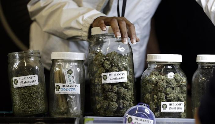 This photo taken Feb. 13, 2013 shows different strains of marijuana displayed during the grand opening of the Seattle location of the Northwest Cannabis Market, for sales of medical marijuana products. It took nearly 15 years after voters approved it for medical marijuana to become available in the District of Columbia, but the next major change to the district's pot laws is on the fast track. The D.C. Council is poised to approve a bill to decriminalize possession of small amounts of pot, and Democratic Mayor Vincent Gray supports it. He could sign the bill into law as early as January. (AP Photo/Elaine Thompson)
