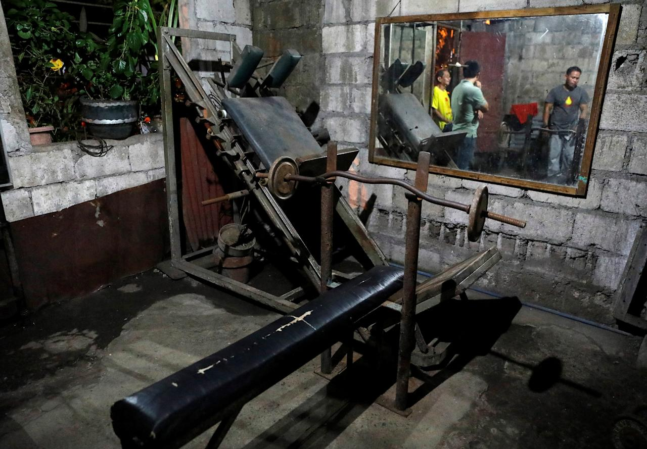 Vintage 1970s era gym equipment are shown inside one of the oldest neighbourhood gyms in Tondo district in metro Manila, Philippines September 20, 2017. REUTERS/Dondi Tawatao
