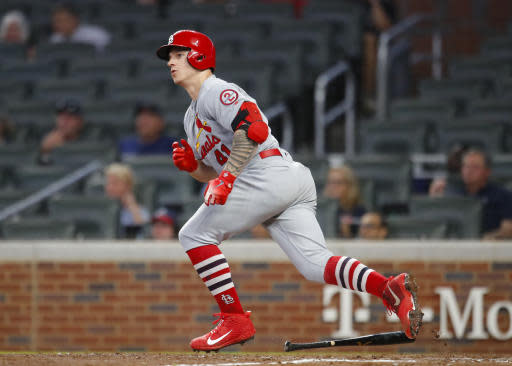 St. Louis Cardinals' Tyler O'Neill watches his RBI double during the ninth inning of a baseball game against the Atlanta Braves, Tuesday, Sept. 18, 2018, in Atlanta. The Cardinals won 8-1. (AP Photo/Todd Kirkland)