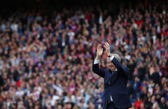 "Soccer Football - Premier League - Crystal Palace vs West Bromwich Albion - Selhurst Park, London, Britain - May 13, 2018 Crystal Palace manager Roy Hodgson applauds the crowd after the match REUTERS/Hannah McKay EDITORIAL USE ONLY. No use with unauthorized audio, video, data, fixture lists, club/league logos or ""live"" services. Online in-match use limited to 75 images, no video emulation. No use in betting, games or single club/league/player publications. Please contact your account representative for further details."