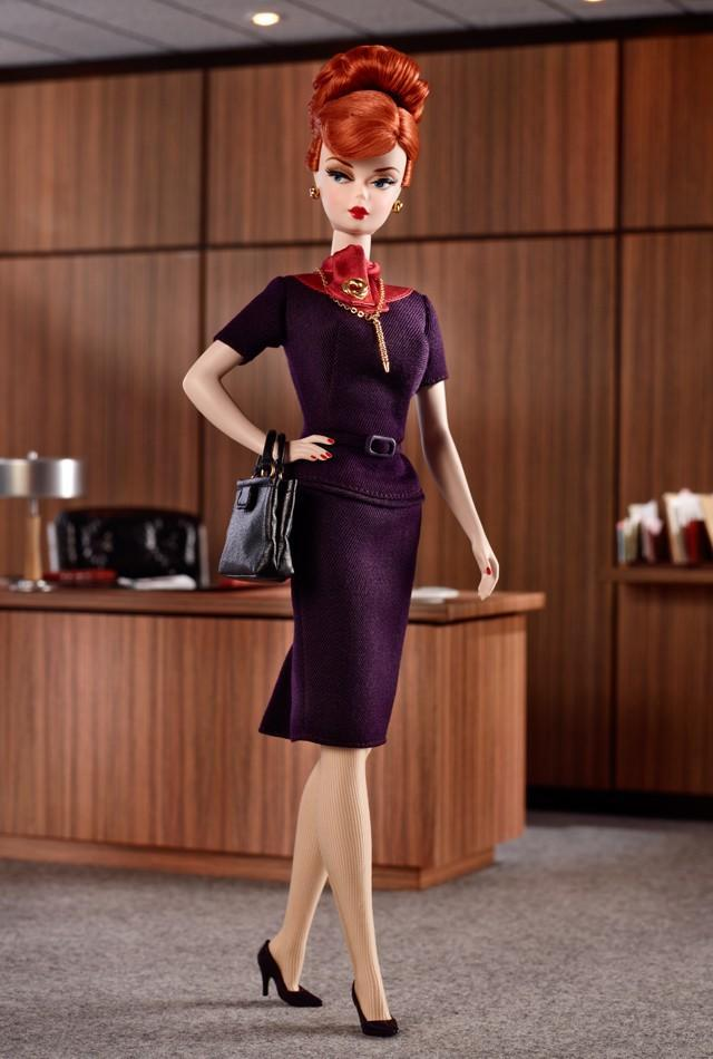 "<div class=""caption-credit""> Photo by: barbiecollector.com</div><b>""Mad Men"" Joan Holloway doll, released in 2010 for $74.95</b> <br> Her famous curves are whittled down, and while the styling is cute, it looks much like many other Barbie dolls of the '60s."