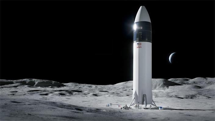 An artist's impression of SpaceX's proposed lunar lander, a variant of the company's Starship prototypes currently being developed for use in a new heavy lift rocket system.  / Credit: SpaceX