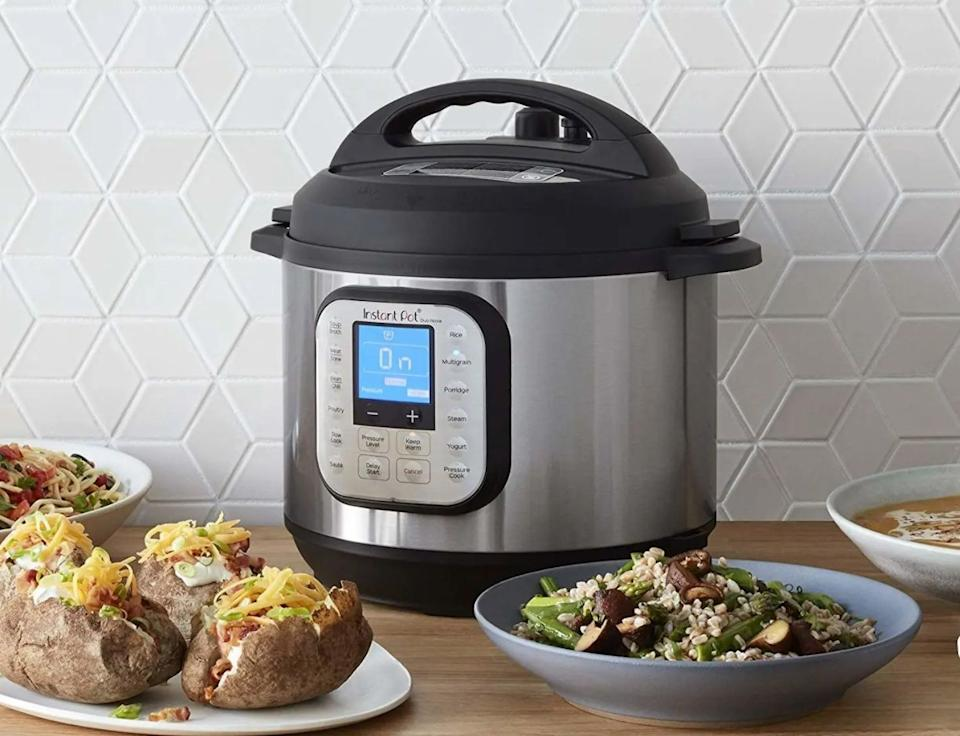 """This 7-in-1 gadget will act as a pressure cooker, slow cooker, rice cooker, steamer, sautér, yogurt maker and overall warmer. And, yes, you can make baby food in it!<br /><br /><strong>Promising review:</strong>""""This product is beyond description! The food comes out amazing, it doesn't heat up the kitchen, there are so many recipes for meals and within minutes the food is on the table and delectable. I made St. Louis ribs last night and it fell off the bones, they were juicy and so flavorful! Looking forward to years of happiness with this kitchen appliance!!!<strong>Perfect for those that work, home school or are just tired out. Wonderful meals in minutes!</strong>You can even cook frozen meats and have it on the table in less than 30 minutes. You can't imagine how wonderful this machine cooks up mouth watering meals in minutes. Can't say enough!"""" —<a href=""""https://amzn.to/3hmsBin"""" target=""""_blank"""" rel=""""nofollow noopener noreferrer"""" data-skimlinks-tracking=""""5189597"""" data-vars-affiliate=""""Amazon"""" data-vars-href=""""https://www.amazon.com/gp/customer-reviews/R17ZZYXST7YAE9?tag=bfheather-20&ascsubtag=5189597%2C9%2C44%2Cmobile_web%2C0%2C0%2C160738"""" data-vars-keywords=""""cleaning"""" data-vars-link-id=""""160738"""" data-vars-price="""""""" data-vars-product-id=""""15996779"""" data-vars-retailers=""""Amazon"""">Barbara Berger<br /><br /></a><strong><a href=""""https://amzn.to/2QbWFSC"""" target=""""_blank"""" rel=""""noopener noreferrer"""">Get it from Amazon for$79.95+(available two styles and in 3, 6, 8 or 10 quart sizes).</a></strong>"""
