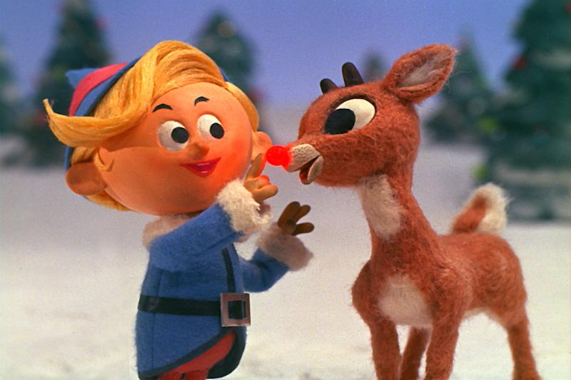"This image released by CBS, shows Hermey the Elf, voiced by Paul Soles, left, and Rudolph, voiced by Billie Mae Richards in a scene from ""Rudolph The Red-Nosed Reindeer."" The longest-running holiday special in television history, will be broadcast on Dec. 10, on CBS. (CBS via AP)"
