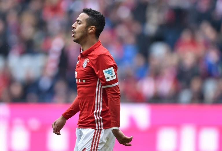 Bayern Munich's Thiago Alcantara reacts during their German First division Bundesliga match against Mainz 05 in Munich, Germany, on April 22, 2017