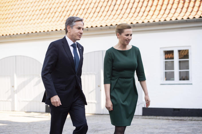 Danish Prime Minister Mette Frederiksen walks with US Secretary of State Antony Blinken as he arrives for meetings at Marienborg, the official residence of the Prime Minister, in Copenhagen, Denmark, May 17, 2021. U.S. Secretary of State Antony Blinken is in Denmark for talks on climate change, Arctic policy and Russia as calls grow for the Biden administration to take a tougher and more active stance on spiraling Israeli-Palestinian violence. (Saul Loeb/Pool photo via AP)