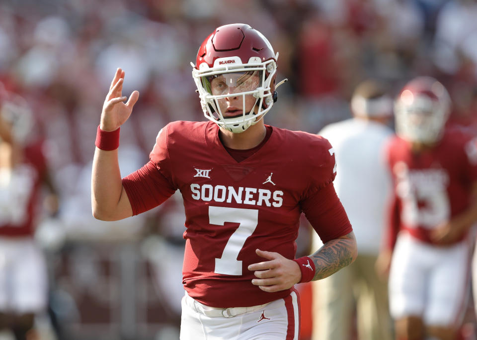 Oklahoma quarterback Spencer Rattler could be in play for a team such as the Atlanta Falcons in the 2022 NFL draft. (AP Photo/Alonzo Adams)