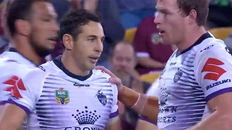 Billy Slater refused to celebrate. Pic: Channel Nine
