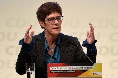 FILE PHOTO: Christian Democratic Union (CDU) candidate Kramp-Karrenbauer speaks at a regional conference in Luebeck