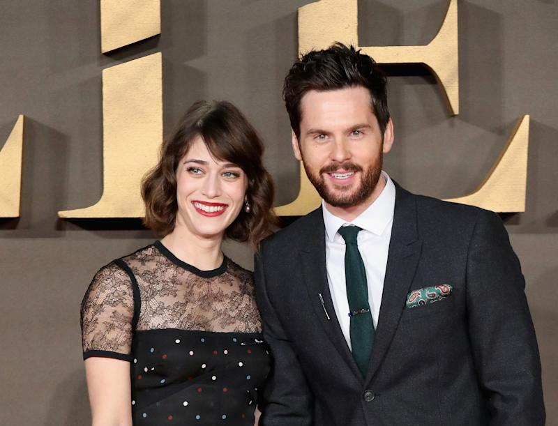 "Lizzy Caplan and Tom Riley attend the UK Premiere of ""Allied."""