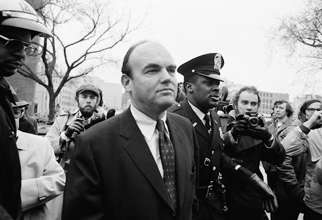 <p>John D. Ehrlichman, President Nixon's former top domestic adviser, walks to U.S. District Court in Washington, where he pleaded innocent to charges of conspiracy and other crimes pertaining to Watergate. (Photo: AP) </p>
