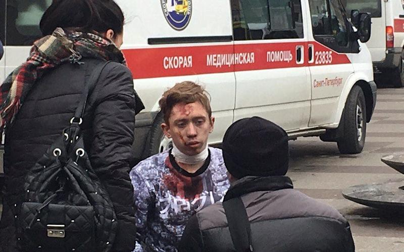 A bloodied victim outside the station - Credit: Twitter/Clean Authoritie
