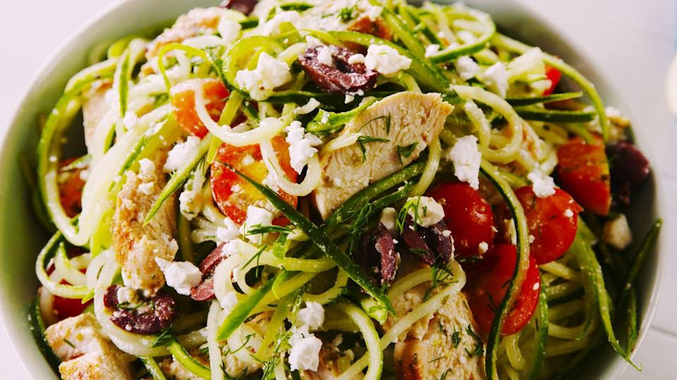 "<p>Cucumber noodles are the new zoodles.</p><p>Get the recipe from <a href=""https://www.delish.com/cooking/recipe-ideas/a22666387/greek-cucumber-noodle-salad-recipe/"" rel=""nofollow noopener"" target=""_blank"" data-ylk=""slk:Delish"" class=""link rapid-noclick-resp"">Delish</a>.</p>"