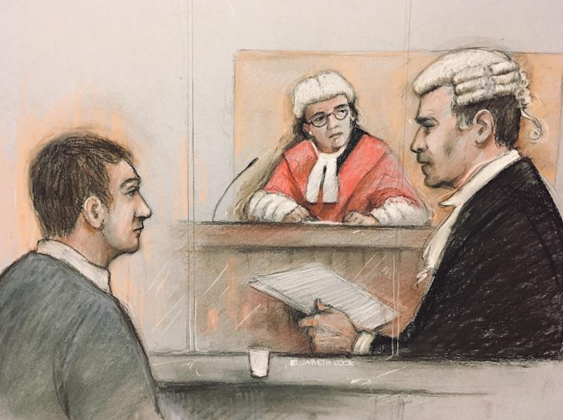 Court artist sketch by Elizabeth Cook of Alexander Lewis-Ranwell, 28, (left), from north Devon, is on trial accused of the murders of Anthony Payne, 80, and twins Dick and Roger Carter, 84, on February 10 this year. Source: Elizabeth Cook/PA Wire.