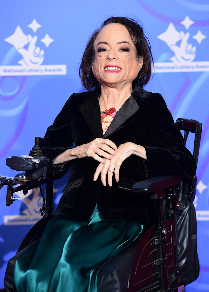 Liz Carr celebrating the inspirational winners in this year's National Lottery Awards, the search for the UK's favourite National Lottery-funded projects. The National Lottery Awards show is on BBC One at 10.45pm on Wednesday 26th September (Photo by Ian West/PA Images via Getty Images)