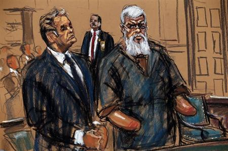 Islamist cleric al-Masri is seen in this courtroom sketch during a court appearance in Manhattan Federal Court in New York