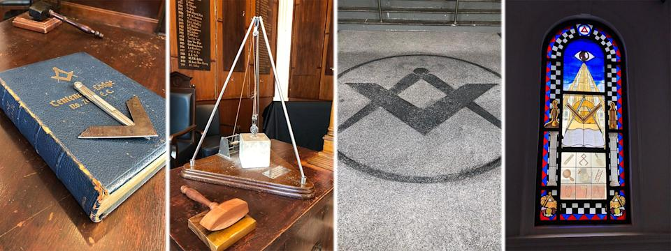(L-R) A copy of the King James Bible, referred to by Masons as a Volume of Sacred Law for the purposes of their meetings; The corresponding stone, the Rough Ashlar, represents a Freemason at his initiation, rough and unpolished. The system of pulleys suggest the use of his intellect in raising the great weights of such stones to fix them in their proper places; The ubiquitous Square and Compasses, a Freemason symbol; A stained glass relief at Freemasons' Hall at Coleman Street, depicting the Eye of Providence. PHOTO: Nicholas Yong/Yahoo News Singapore