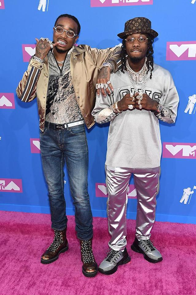 <p>Quavo and Offset of Migos attend the 2018 MTV Video Music Awards at Radio City Music Hall on August 20, 2018 in New York City. (Photo: Jamie McCarthy/Getty Images) </p>