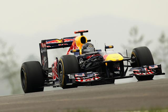 YEONGAM-GUN, SOUTH KOREA - OCTOBER 15: Sebastian Vettel of Germany and Red Bull Racing drives during the final practice session prior to qualifying for the Korean Formula One Grand Prix at the Korea International Circuit on October 15, 2011 in Yeongam-gun, South Korea. (Photo by Clive Rose/Getty Images)