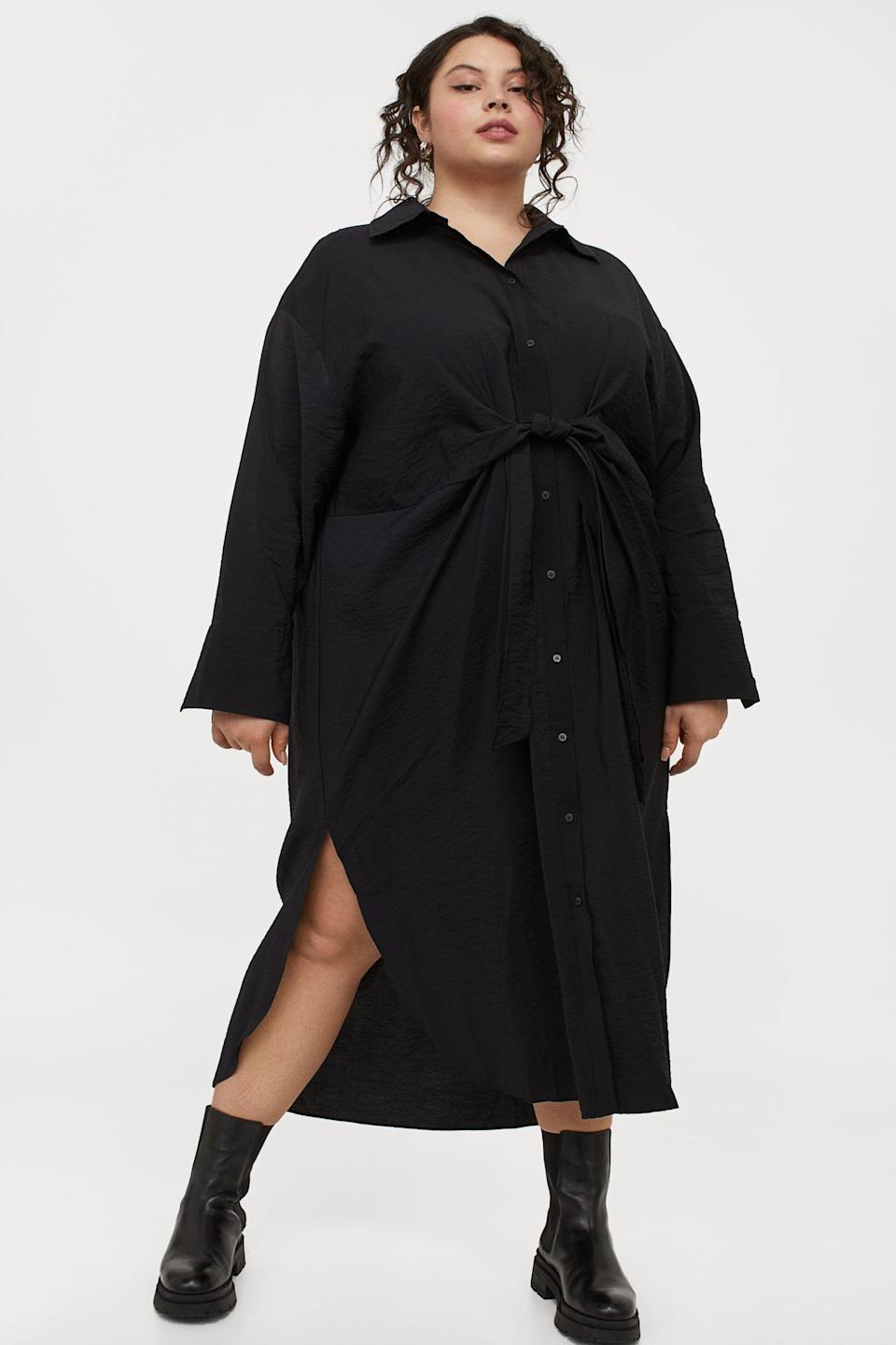 <p>You can easily dress this <span>H&amp;M+ Shirt Dress</span> ($30) up with elevated slide sandals or down with chunky boots.</p>