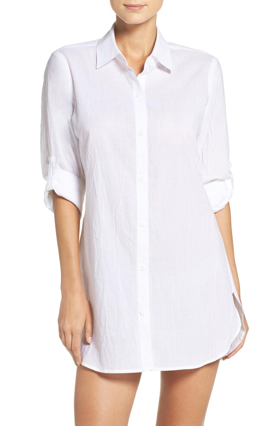 """<p><strong>Tommy Bahama</strong></p><p>nordstrom.com</p><p><strong>$68.00</strong></p><p><a href=""""https://go.redirectingat.com?id=74968X1596630&url=https%3A%2F%2Fshop.nordstrom.com%2Fs%2Ftommy-bahama-boyfriend-shirt-cover-up%2F3129996&sref=https%3A%2F%2Fwww.townandcountrymag.com%2Fstyle%2Ffashion-trends%2Fg28904847%2Fbest-white-button-down-shirts%2F"""" rel=""""nofollow noopener"""" target=""""_blank"""" data-ylk=""""slk:Shop Now"""" class=""""link rapid-noclick-resp"""">Shop Now</a></p><p>This long, breezy cotton button down is just as chic as a cover up at the beach as it is for an extra boost of unfussy sophistication with tights and boots. </p>"""