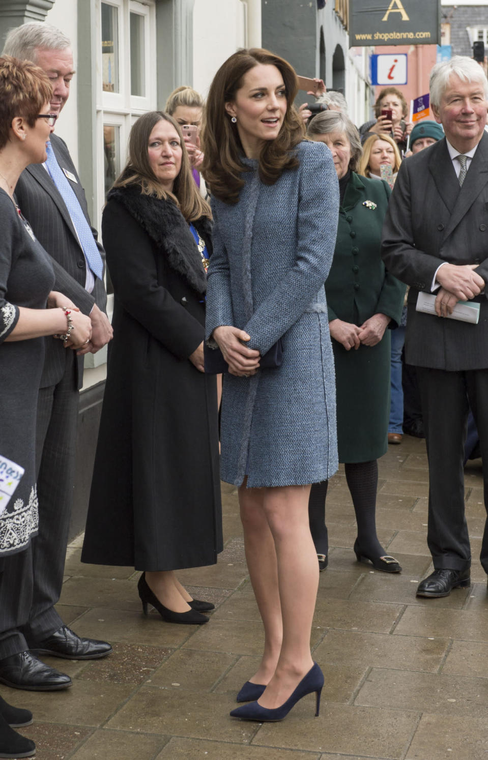 <p>A trip to Norfolk to open a charity shop saw Kate pick a tweet M Missoni coat that has been seen on her several times before. Accessories included navy Prada pumps and a matching Stuart Weitzman clutch.</p><p><i>[Photo: PA]</i></p>