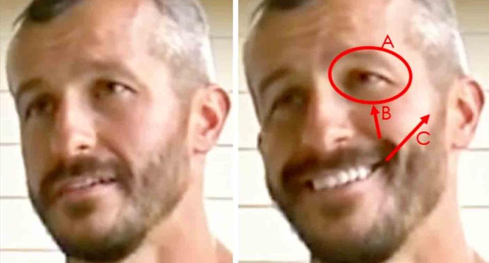 A close up of Chris Watts on the left and on the right are the facial expressions highlighted in red that gave him away, according to a body language expert.