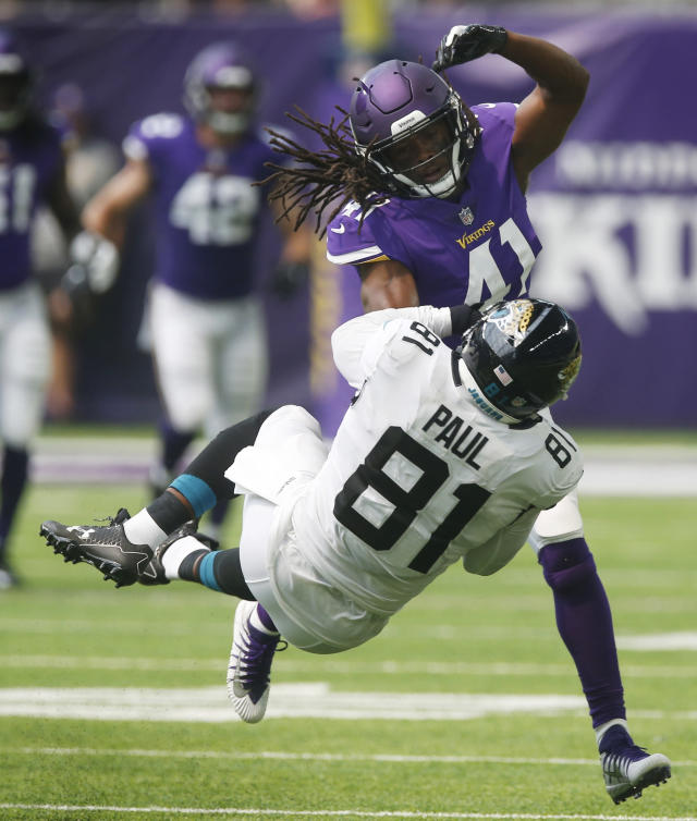 Minnesota Vikings safety Anthony Harris, rear, breaks up a pass intended for Jacksonville Jaguars tight end Niles Paul (81) during the first half of an NFL preseason football game, Saturday, Aug. 18, 2018, in Minneapolis. (AP Photo/Jim Mone)