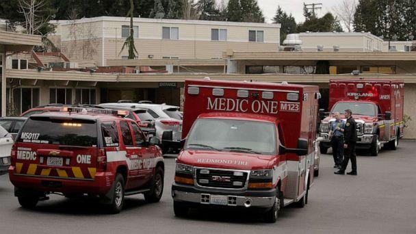 PHOTO: An ambulance transports a patient from the Life Care Center of Kirkland, the long-term care facility linked to several confirmed cases of the novel coronavirus in the state, in Kirkland, Washington, March 1, 2020. (David Ryder/Reuters)
