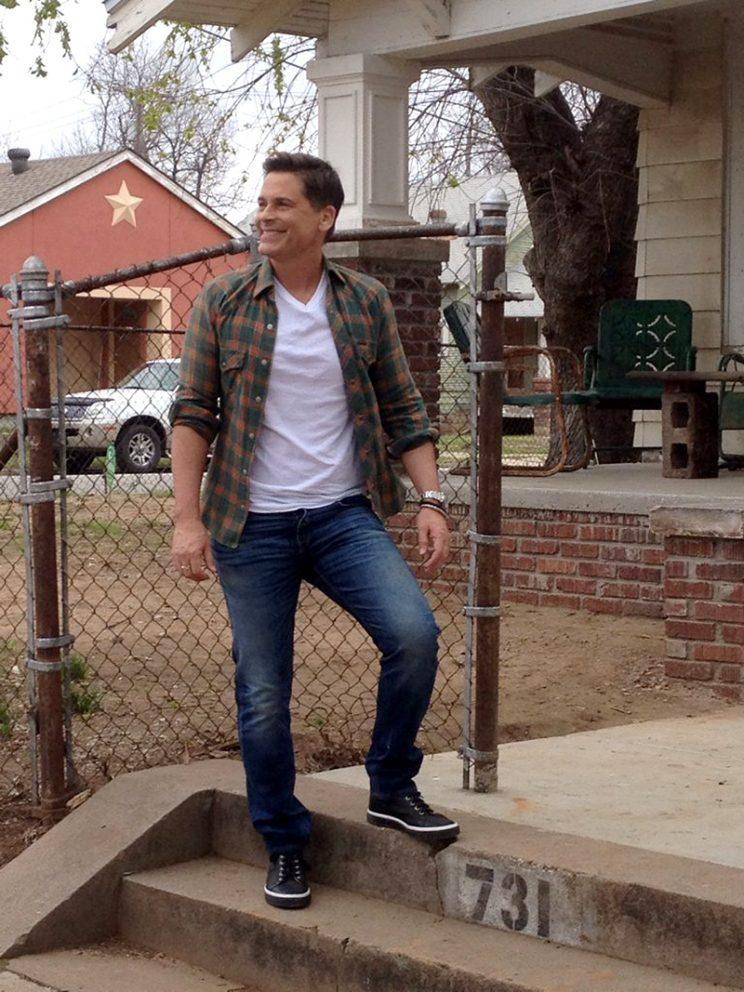 Rob Lowe was all smiles while posing in front of