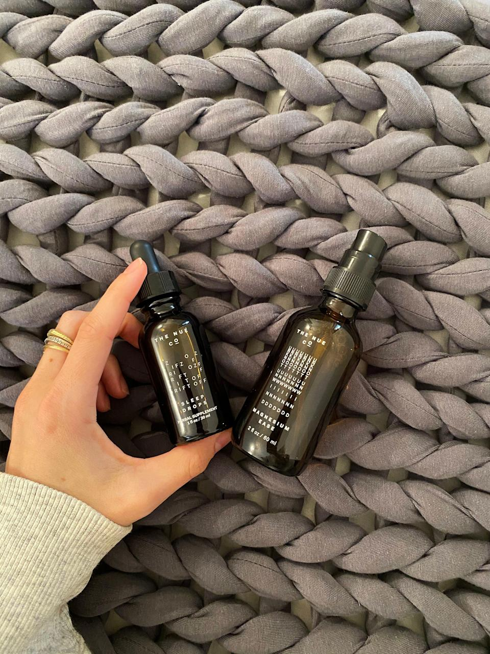 """<strong>What it did: </strong>Helped me fall asleep fast.<br><br><strong>What it didn't do:</strong> Help me stay asleep.<br><br><strong>My bedtime story:</strong> Be warned, these sleep drops taste VERY earthy — and the Magnesium Ease feels slightly tingly when you rub it on the skin (I sprayed this on my shoulders and neck because that's where I store my stress tension). BUT, the first night I used this duo I have never fallen asleep faster. I also really loved the slight arnica effect of the Magnesium Ease on my muscles.<br><br><strong>Who it's best for:</strong> Someone who needs double-duty sleep assistance. <br><br><strong>The Nue Co.</strong> Stress Set, $, available at <a href=""""https://go.skimresources.com/?id=30283X879131&url=https%3A%2F%2Fwww.thenueco.com%2Fcollections%2Fall%2Fproducts%2Fanti-stress-supplement"""" rel=""""nofollow noopener"""" target=""""_blank"""" data-ylk=""""slk:The Nue Co"""" class=""""link rapid-noclick-resp"""">The Nue Co</a>"""