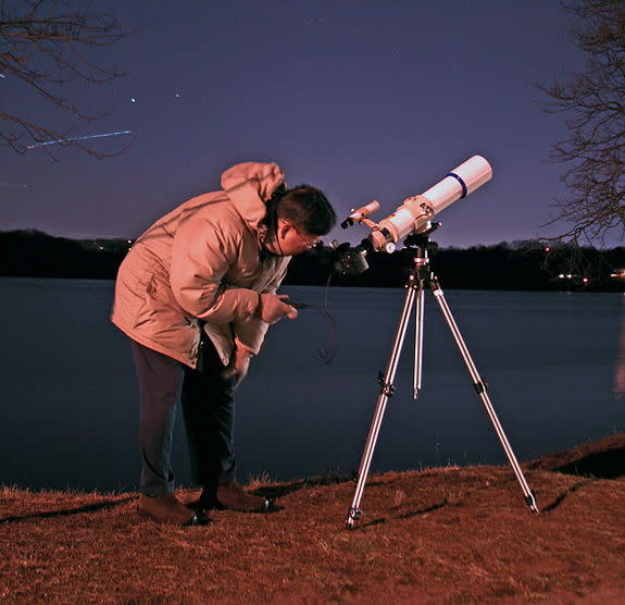 Edwin Aguirre and Imelda Joson used a Canon EOS 20D digital SLR camera attached to a Takahashi FS-78 apochromatic refractor mounted on a Manfrotto geared head and tripod to shoot the penumbral eclipse of 2006. To minimize image-blurring vibrati