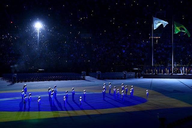 <p>The Brazil national anthem is sung by a children's choir during the Closing Ceremony on Day 16 of the Rio 2016 Olympic Games at Maracana Stadium on August 21, 2016 in Rio de Janeiro, Brazil. (Photo by David Ramos/Getty Images) </p>