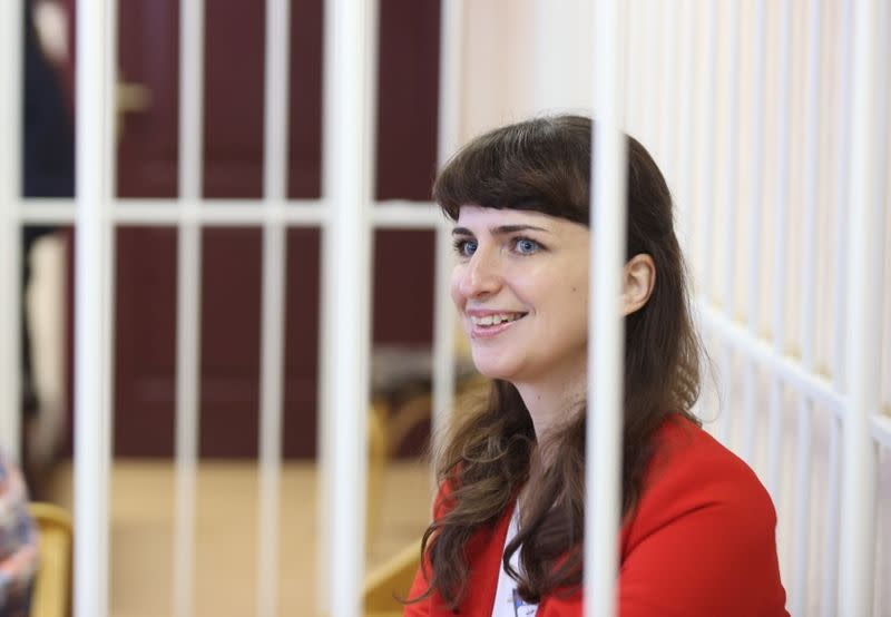 Journalist Katerina Borisevich attends a court hearing in Minsk