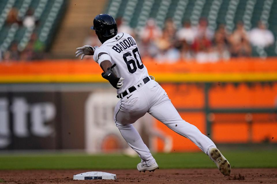 Tigers left fielder Akil Baddoo heads to third from first on a throwing error by Orioles pitcher Alexander Wells on a pickoff attempt during the first inning on Thursday, July 29, 2021, at Comerica Park.