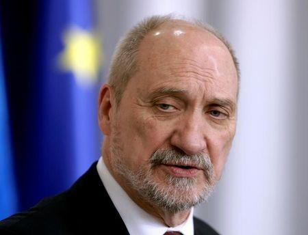 Poland's Defence Minister Macierewicz speaks during a news conference in Tallinn
