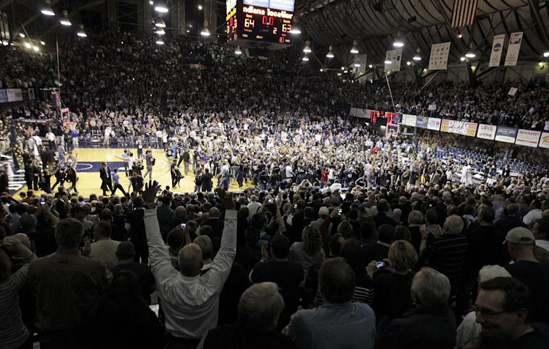 Fans celebrate after Butler defeated Gonzaga 64-63 in an NCAA college basketball game Saturday, Jan. 19, 2013, in Indianapolis. (AP Photo/AJ Mast)