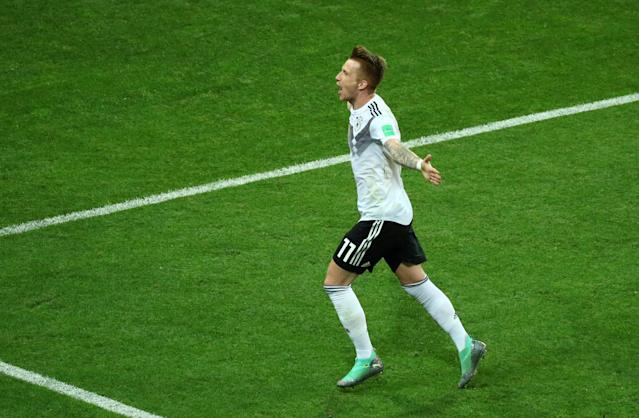 Soccer Football - World Cup - Group F - Germany vs Sweden - Fisht Stadium, Sochi, Russia - June 23, 2018 Germany's Marco Reus celebrates after teammate Toni Kroos scores their second goal REUTERS/Hannah McKay