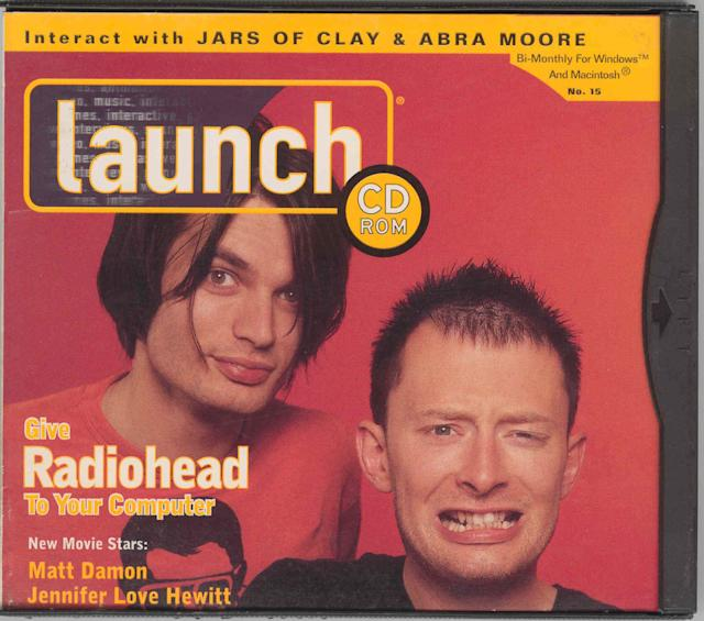 Radiohead on the cover of LAUNCH,1997