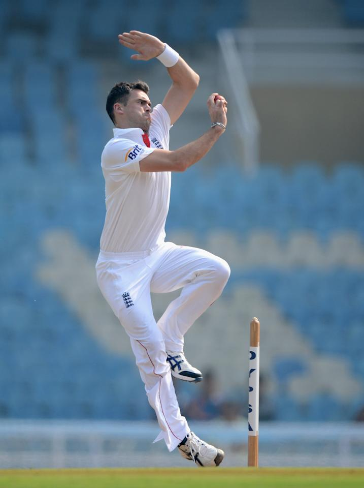 MUMBAI, INDIA - NOVEMBER 04:  James Anderson of England bowls during day two of the tour match between Mumbai A and England at The Dr D.Y. Palit Sports Stadium on November 4, 2012 in Mumbai, India.  (Photo by Gareth Copley/Getty Images)