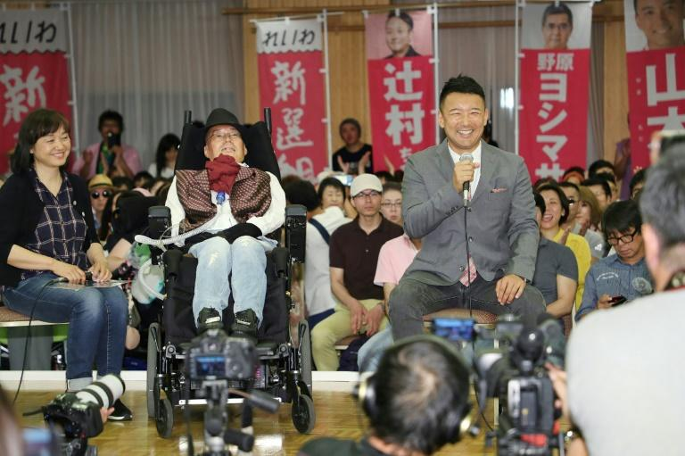 Yasuhiko is the first person with ALS, Amyotrophic Lateral Sclerosis, to be elected to Japan's national parliament (AFP Photo/JIJI PRESS)