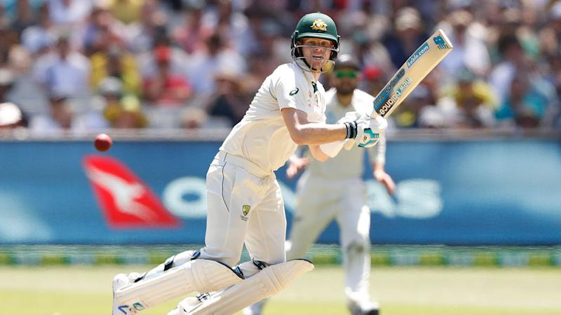 Seen here, Steve Smith top scored for Australia on day one of the second Test against New Zealand.