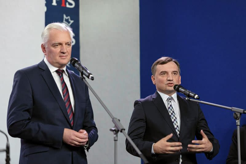 News conference after signing coalition agreement in Warsaw