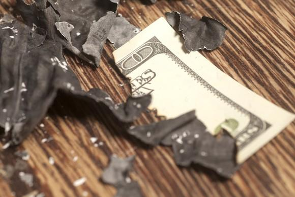 A burned piece of cash.