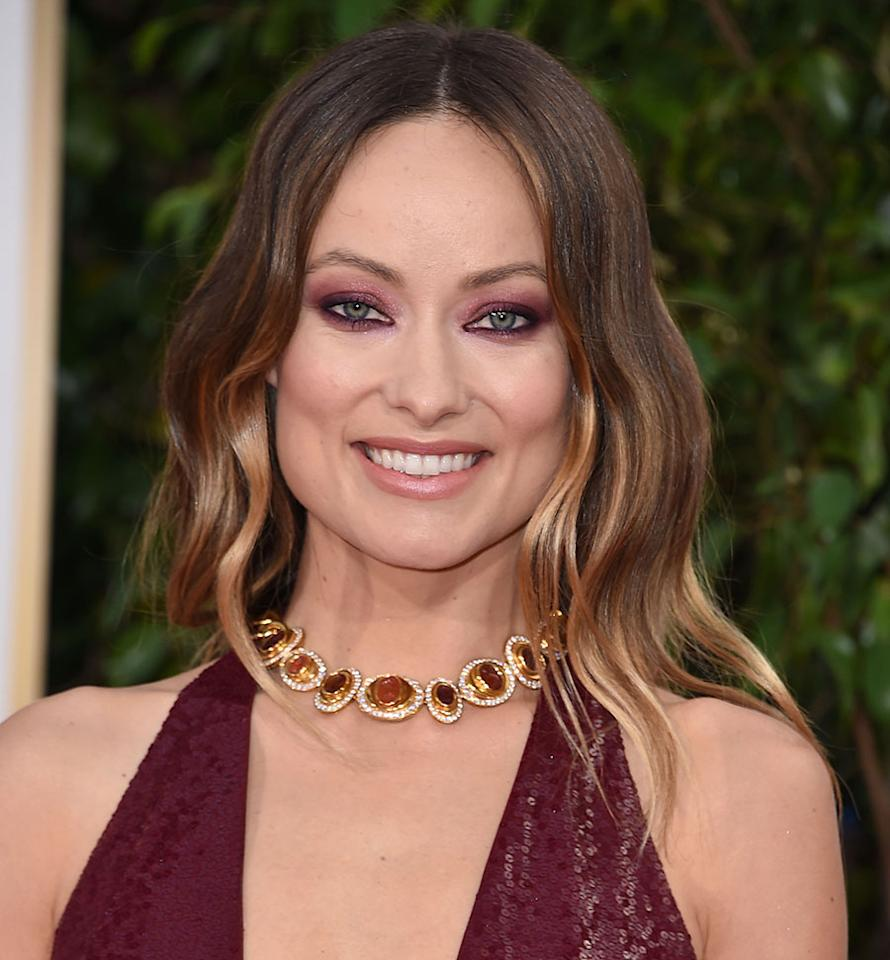 <p>Olivia Wilde's green eyes sparkle with aubergine smoky lids. (Photo by Steve Granitz/WireImage) </p>