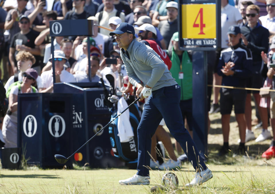 United States' Jordan Spieth reacts to his tee shot on the 4th hole during the second round of the British Open Golf Championship at Royal St George's golf course Sandwich, England, Friday, July 16, 2021. (AP Photo/Peter Morrison)