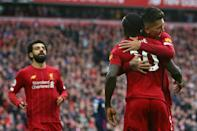 Mohamed Salah (left), Sadio Mane (centre) and Roberto Firmino (right) have scored a combined 248 goals for Liverpool in the past four seasons