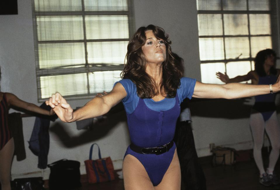 Jane Fonda working out in 1983. Also iconic: her belted leotards.