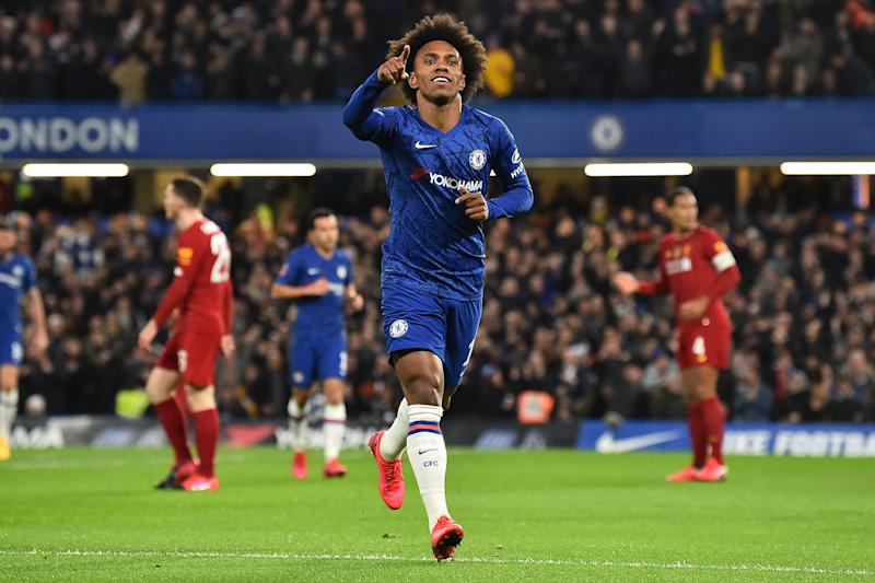 Willian scored the game-winner for Chelsea in the first half of Tuesday's FA Cup fifth round match against Liverpool. (Glyn Kirk/Getty)